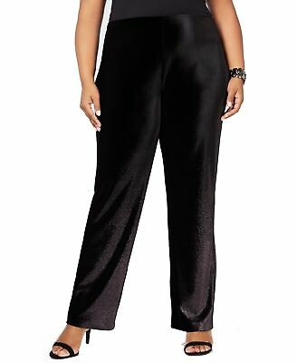 Alfani Women's Pant's Black Size 1X Plus Foil Velvet Wide Leg Stretch $89 #392