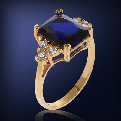 10k 3.17 CTTW Created Sapphire & White Topaz Ring ~ Size 5