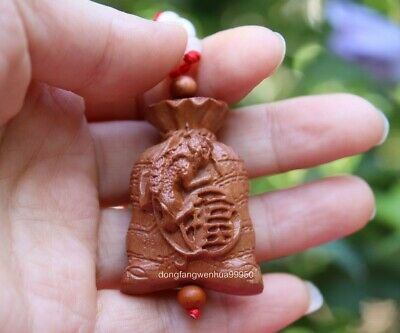 Peach Wood Wooden Carved Wealth Coin Unicorn kylin Blessing Amulet Pendant