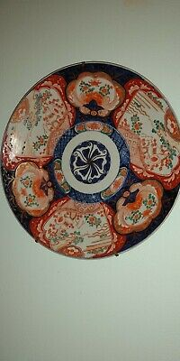 Antique Imari Platter/Charger Hand Painted Japan Large 14.5 Inches