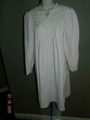 Vintage Vanity Fair VELOUR ROBE Housecoat Snap Front Pink Large