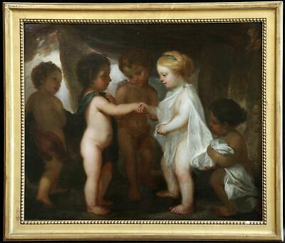 """18th CENTURY FINE LARGE ITALIAN OLD MASTER OIL ON CANVAS  """"Betrothal Of Putti"""""""