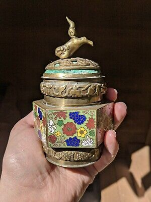 Antique Chinese Cloisonne Enamel Foo Dog Vase Early 1900 Oho Canister with Lid