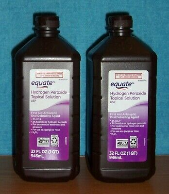 EQUATE - 2 Pack, 32 oz Hydrogen Peroxide 3% Topical Solution (64 oz total)