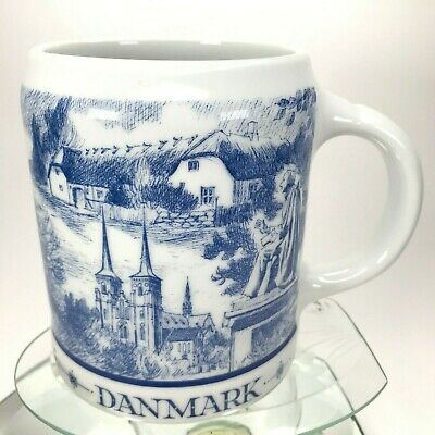Vtg Denmark Beer Stein Mug By Benton Viking Ship Countryside Church Rare Cup C23