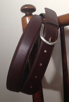 Pierre Cardin Mens Patterned Brown Real Leather Belt Silver Tone Buckle 40/100