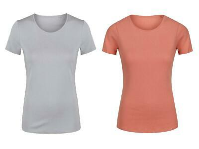 Ladies Ex-M/&S Short Sleeve Easy Care Fitted Cotton Round Neck T-Shirt Top Tee