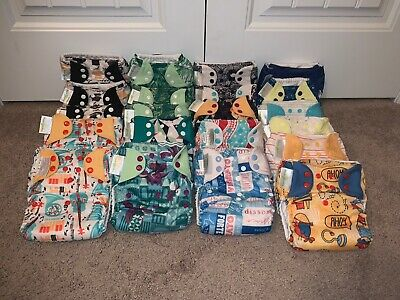 Lot of 21 BumGenius Pocket Diapers w/inserts 4.0 5.0 BOY GREEN BLUE
