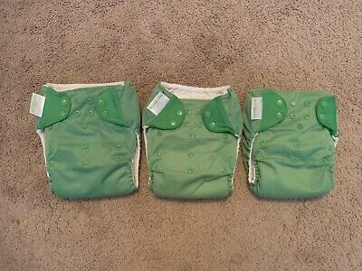 Lot of 3 BumGenius One Size Pocket Diaper 4.0 RIBBIT
