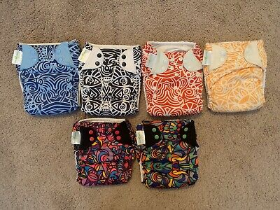 RARE Lot of 6 BumGenius Pocket Cloth Diapers Chelsea Perry