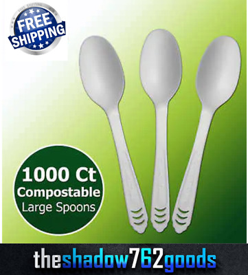 1000 Pieces Large Strong Compostable Spoon CPLA Environment Friendly Utensils