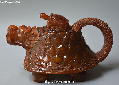 """8"""" Marked China Ox Horn Oxhorn Carving Dragon Turtle Beast Teapot Kettle Statue"""