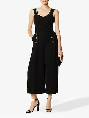 L) Karen Millen Open Back Culotte Black Jumpsuit Size Uk 6 RRP 119
