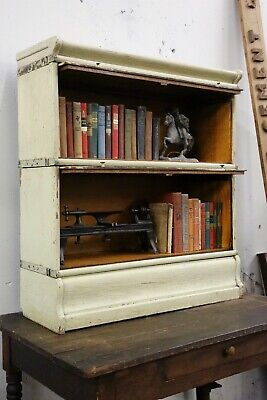 vintage Oak Barrister Bookcase Mint Green Farmhouse Library Book Cabinet display