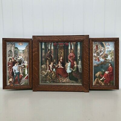 Stunning Gothic Style Triptych Copy of Hans Memling with prints