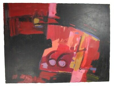 """Emil Donato Acrylic Painting Canvas Abstract Red Numbers 48"""" x 35.75"""" 1970s"""