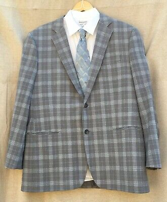 Brooks Brothers Madison Grey Reda Italian Wool Windowpane Check Plaid Blazer 46L