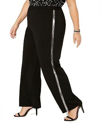 NY Collection Womens Pants Black Size 1X Plus Pull-On Striped Stretch $40 118