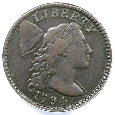 1794 S-67 R-3 ANACS VF 25 Details Head of 95 Liberty Cap Large Cent Coin 1c
