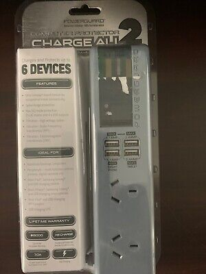 POWERGUARD Computer Surge Protector Charge All 2 - 6 Devices - BRAND NEW Blue