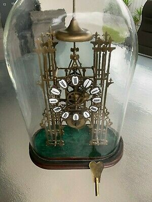 Large Antique Skeleton Mantle Clock With Glass Dome.