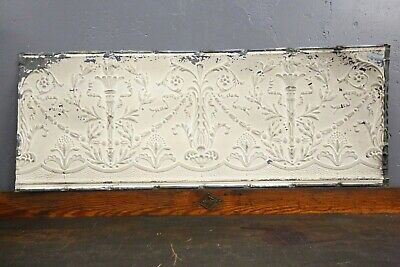 "Vintage Antique Metal Tin Ceiling Tile 48""X18"" Reclaim Salvage Torch Victorian"