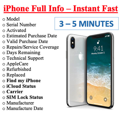 Check IPHONE INFO FAST -IMEI /MODEL/CARRIER/FIND MY IPHONE INSTANT