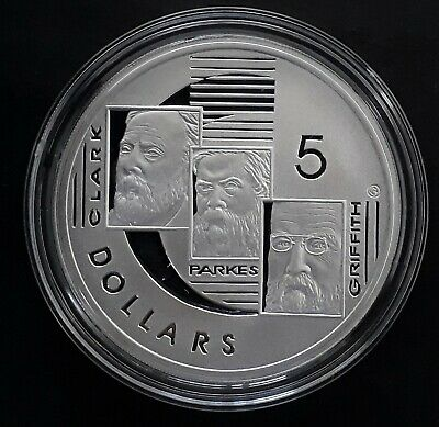 2001 Australia Clarke Parkes Griffith Federation! Silver (.999) $5 Proof coin