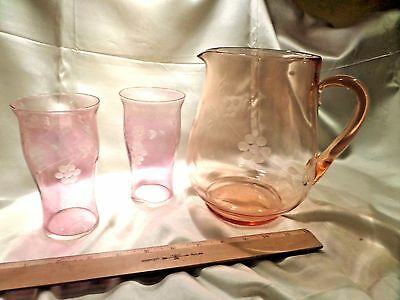 Elegant Glass Pink 2-Quart Pitcher And Two Tumblers, Etched Floral Pattern