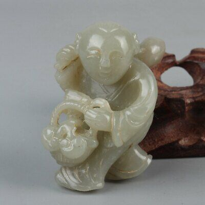 Chinese Exquisite Hand carved child carving Hetian jade statue