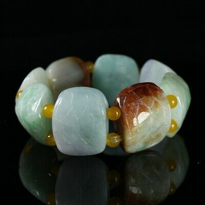 Chinese Exquisite Handmade Turtle shell Carving jadeite jade Bracelets