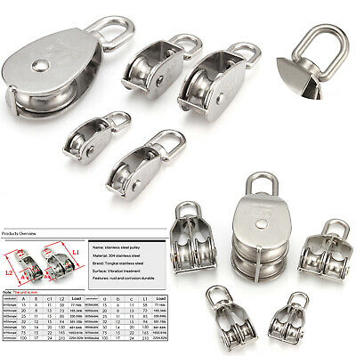 32mm Pulley Roller Stainless Steel Swivel Lifting Wire Rope Cable Towing Wheel