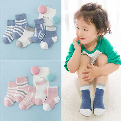 5Pairs Baby Boy Girl Cartoon Cotton Socks Kids Soft Striped Sock Accessories Q