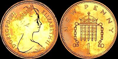 1971 Great Britain 1 New Penny Proof Toned Purple Unc Bu Striking Color (Dr)