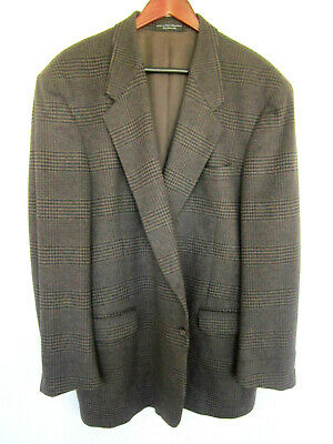 Gianfranco Ruffini Sport Coat 50L Gray Plaid Cashmere Blend Imported Italy