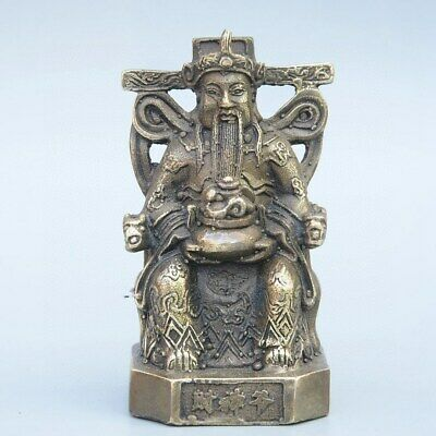 Collect China Old Bronze Hand-Carved Immortal Moral Bring Wealth Decorate Statue