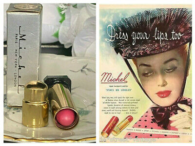 Vintage Michel Cosmetics  Lipstick Gold Metal Bullet Tube New Golden Grape