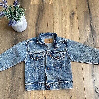 LEVIS Little Levi's Toddler 4T Denim Jean Jacket Vintage Big E Orange Tab USA