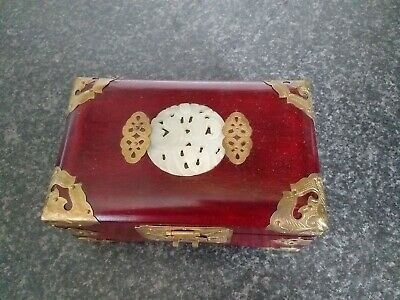 Vintage Chinese Jewellery Box with jade and brass