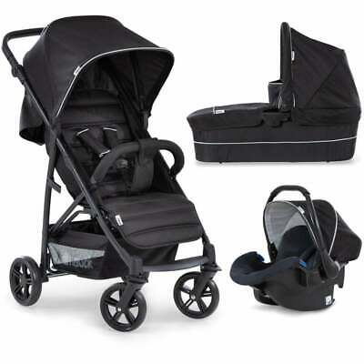 New Hauck Rapid 4 Plus Trio 3In1 Pram Pushchair Carrycot Car Seat Caviar Black