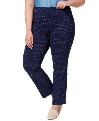 Charter Club Womens Pants Blue Size 24W Plus Slim Tummy-Smooth Stretch $79 296