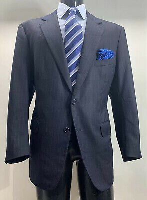 Martin Greenfield Brooks Brothers Wool Blue Striped Suit 46 R Made In USA