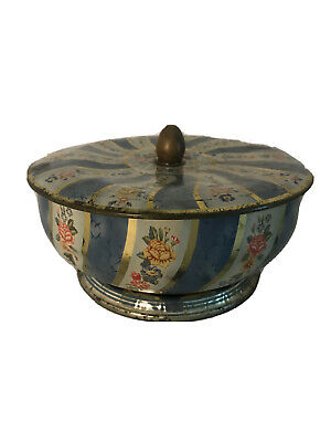 "Vintage 7""round Floral Biscuit Tea Tin With Lid Made In England"