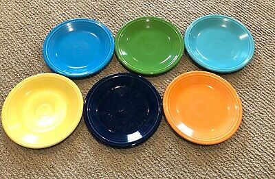 Lot Of 6 Hlc Fiestaware Mixed Colors Salad Plates Fiesta