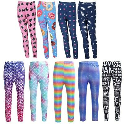 Kids Girls Allover Printed Stretch Leggings Tight Trousers Stretch Legging Pants