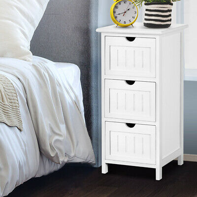 WHITE 3 Deep Drawers Bedside Table Light Stand Lightweight Wall Mount Included