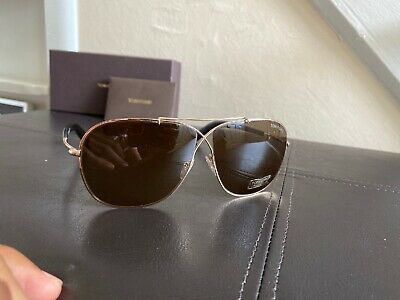 TOM FORD APRIL TF 393 15B SILVER GUN METAL HORN UNISEX SUNGLASSES MADE IN ITALY