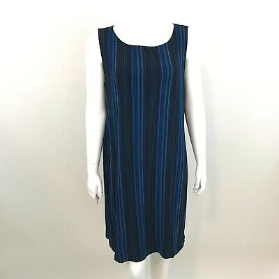 Chicos Travelers Shift Dress Womens Size 3  XL Sleeveless Blue Striped Acetate