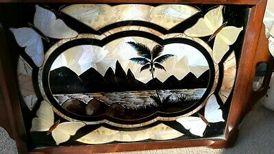 Irridescent Butterfly Wing Hardwood Glass top tray Antique Victorian Edwardian