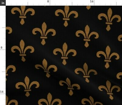 Fleur De Lys Dr Gothic Lis Medieval Gold Black Fabric Printed by Spoonflower BTY